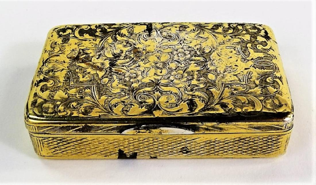 ANTIQUE RUSSIAN GOLD WASHED SILVER TOBACCO BOX