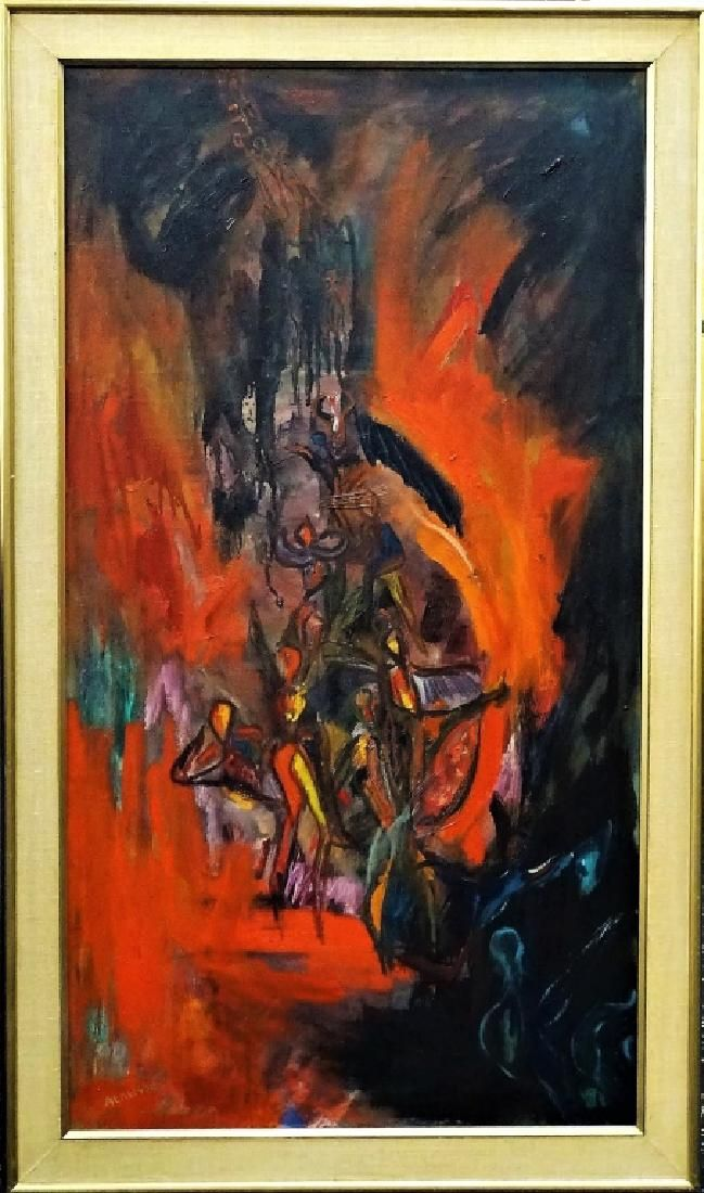 MID 20TH C. OIL/CANVAS SIGNED MODERNIST PAINTING