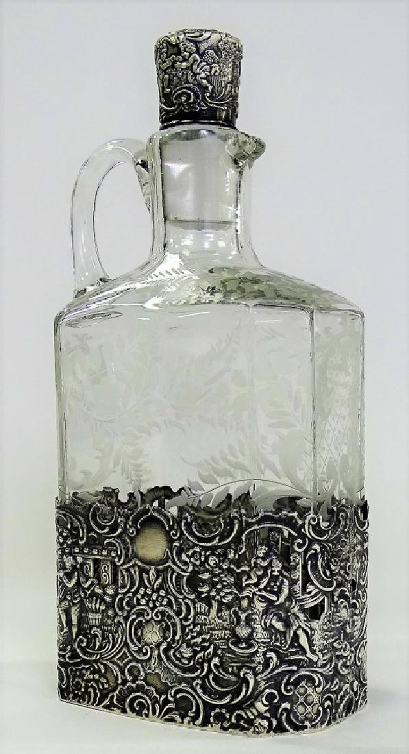 ANTIQUE ETCHED CRYSTAL & STERLING OVERLAY DECANTER
