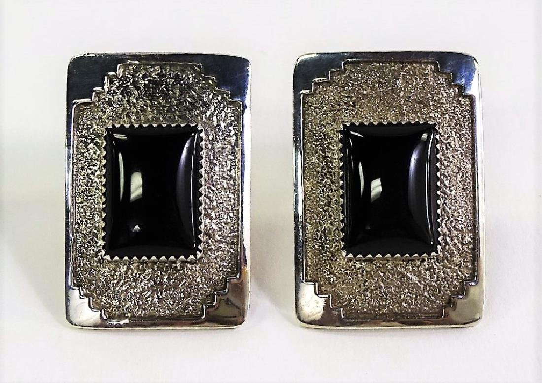 M. JACKSON STERLING SILVER & ONYX NAVAJO EARRINGS