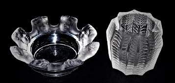 2 LALIQUE MOLDED  FROSTED CRYSTAL SMOKING ITEMS