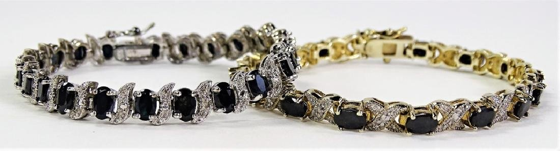 2 STERLING AND SAPPHIRE TENNIS BRACELETS