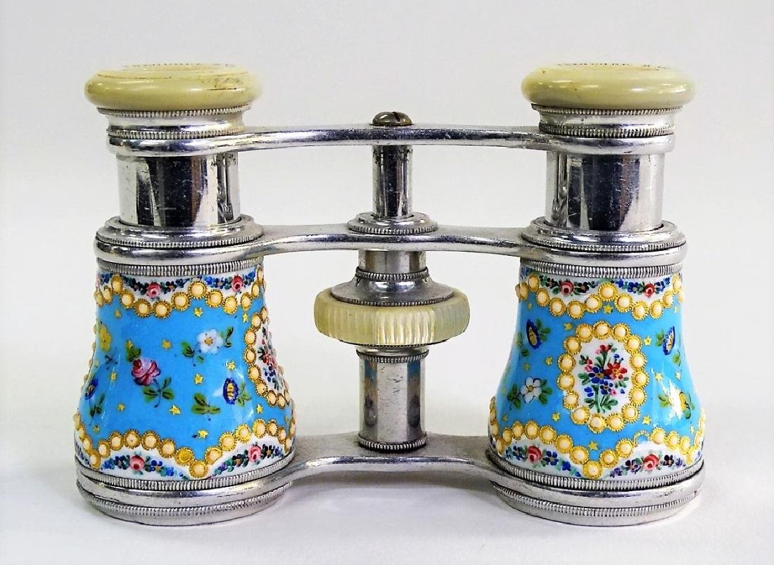 PR OF THEODORE B. STARR ENAMELED OPERA GLASSES