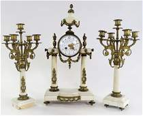 LATE 19TH C FRENCH BRASS  MARBLE CLOCK GARNITURE