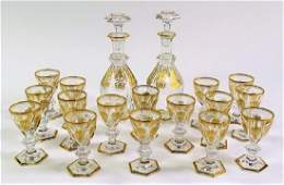 BACCARAT GOLD ETCHED CRYSTAL GLASSES & DECANTERS
