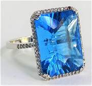 LARGE BLUE TOPAZ 14KT WHITE GOLD  DIAMOND RING