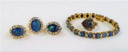 GORGEOUS STERLING SILVER & FAUX OPAL DIAMOND SUITE