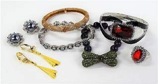 LOT OF COSTUME JEWELRY TO INCLUDE STERLING ITEMS