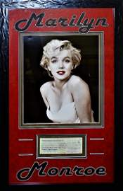 AUTHENTIC MARILYN MONROE SIGNED CHECK DISPLAY