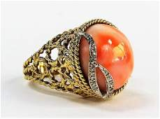 FABULOUS 14KT GOLD FILIGREE & LARGE CORAL RING