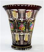 LOVELY HAND PAINTED CUT TO CLEAR MOSER STYLE VASE