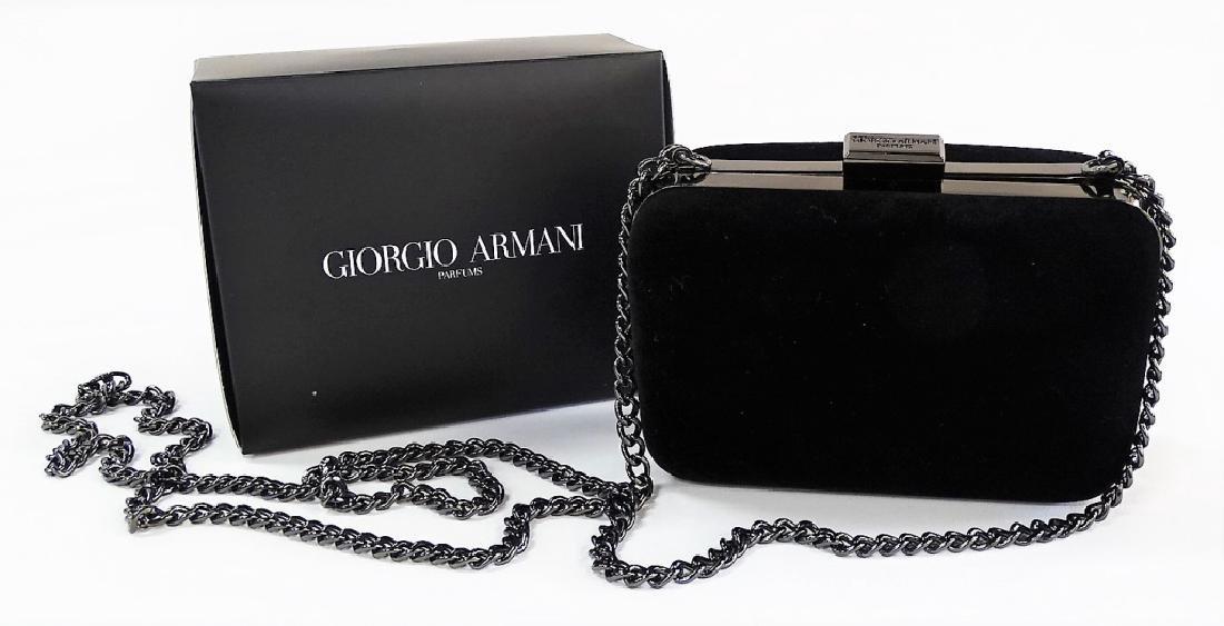 GIORGIO ARMANI PARFUMS BLACK SUEDE CLUTCH