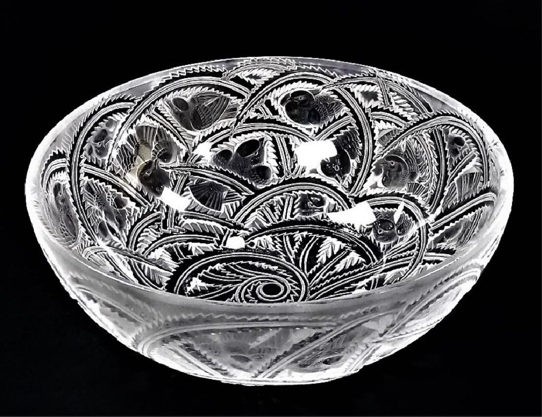 LALIQUE FRANCE MOLDED & FROSTED PINSONS BOWL