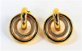 PR 14KT YG CIRCULAR TRIPLE RING EARRINGS