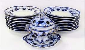 22PCS BLUE  WHITE IMPORTED STONE CHINA