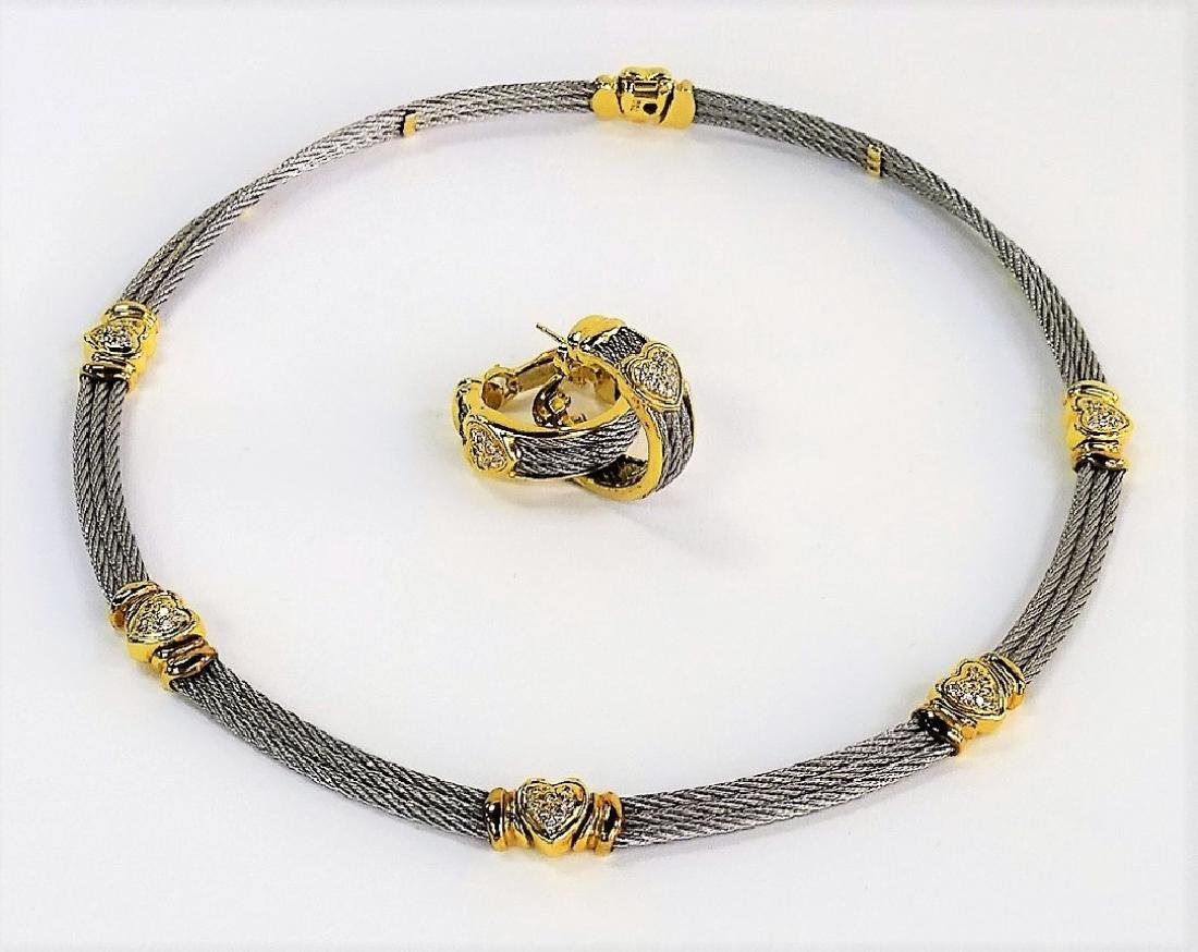 PHILIPPE CHARRIOL 18KT & STAINLESS JEWELRY SUITE