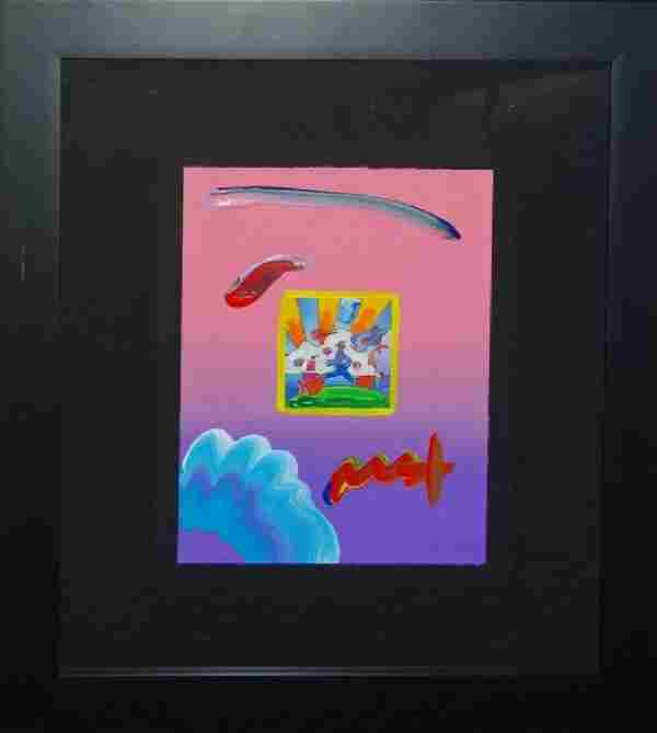 """PETER MAX """"COSMIC RUNNER"""" ACRYLIC ON LITHOGRAPH"""