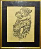 AFTER KATHE KOLLWITZ CHARCOALPAPER OF MOTHER  CHILD