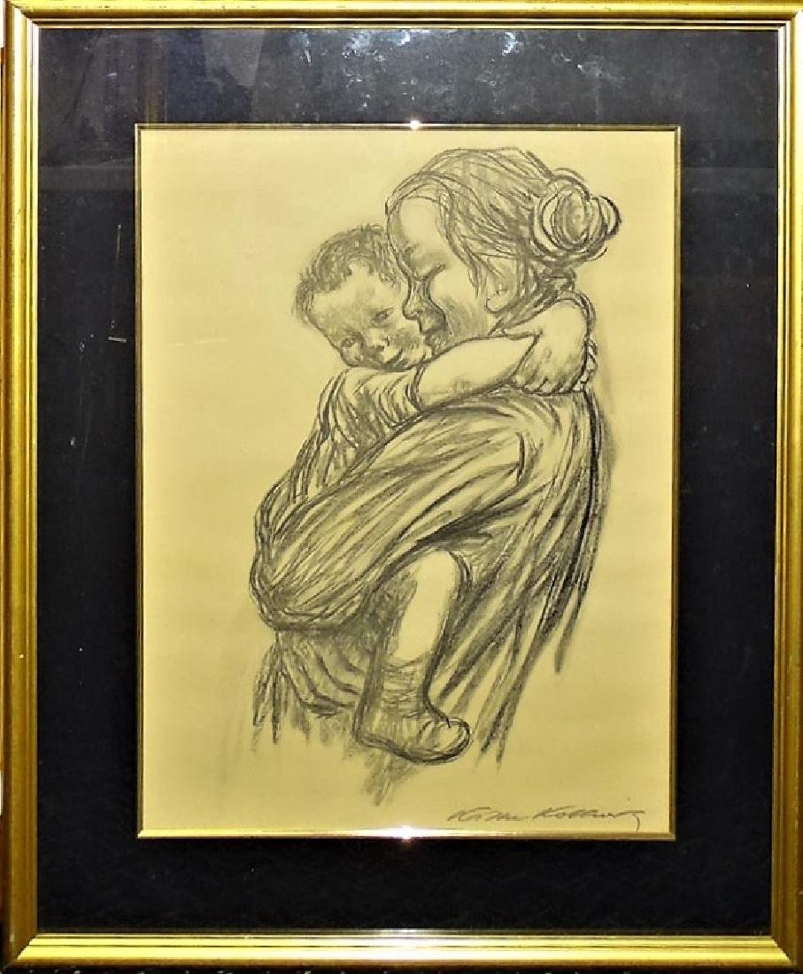 AFTER KATHE KOLLWITZ CHARCOAL/PAPER OF MOTHER & CHILD