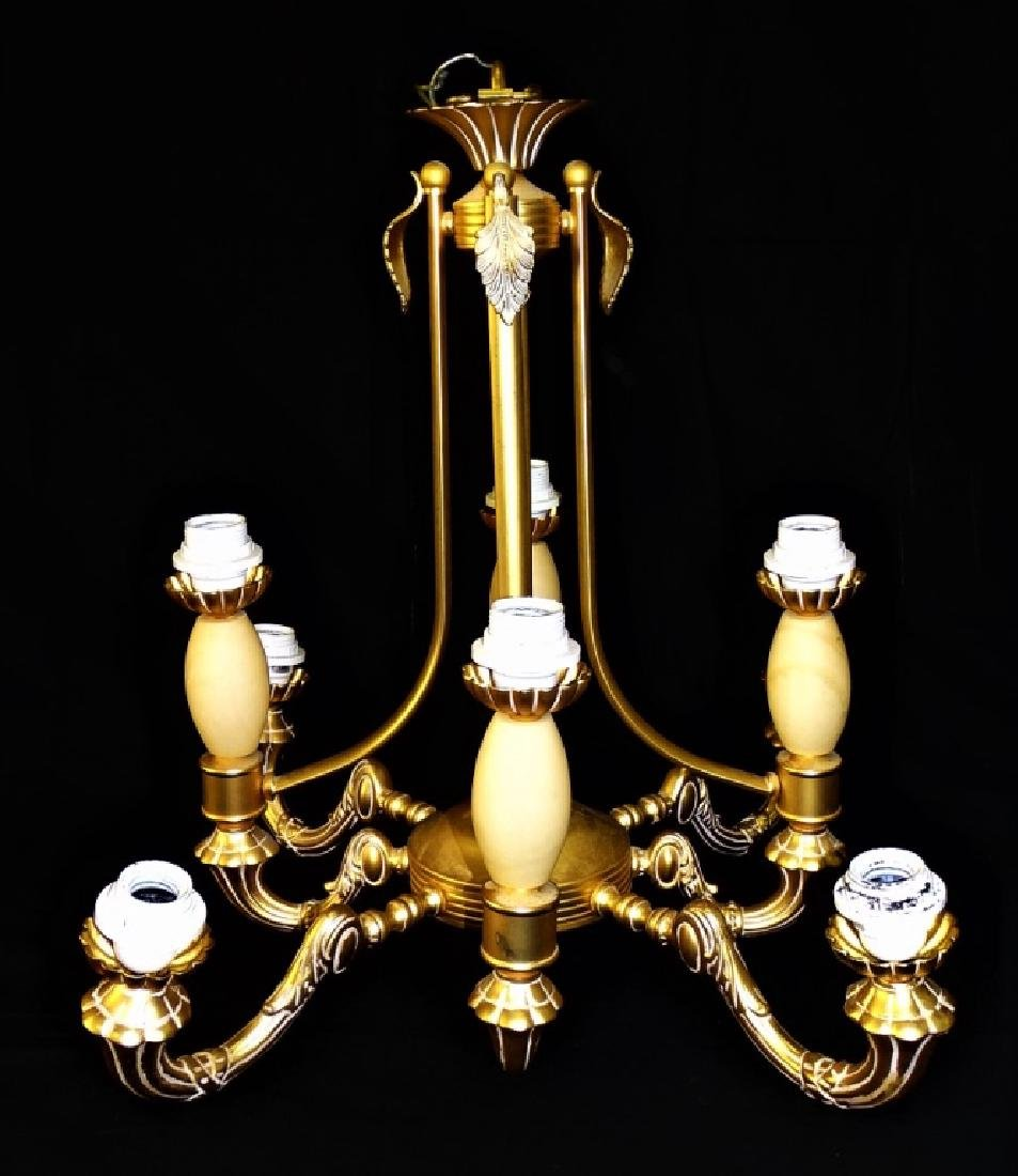GILT BRASS & CARVED ALABASTER CHANDELIER