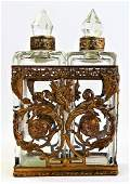 ANTIQUE FRENCH DOUBLE PERFUME BOTTLE CLUSTER