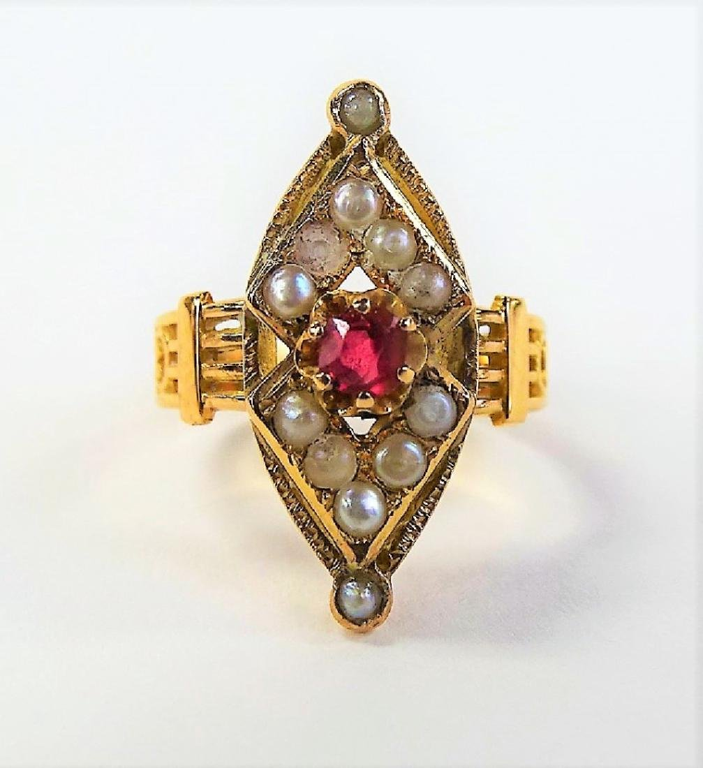 VICTORIAN 14KT GOLD SEED PEARL & RUBY RING