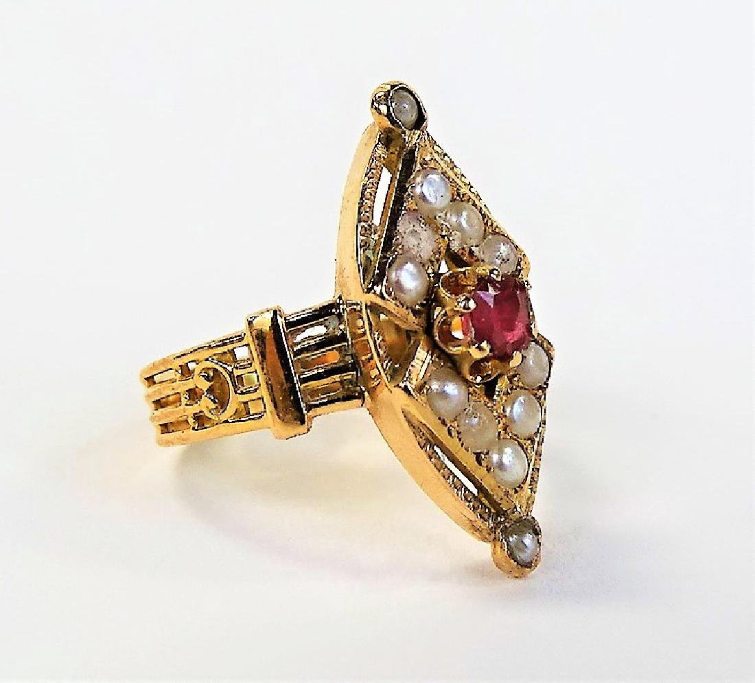 VICTORIAN 14KT GOLD SEED PEARL & RUBY RING - 2