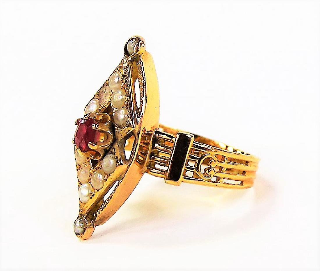 VICTORIAN 14KT GOLD SEED PEARL & RUBY RING - 3
