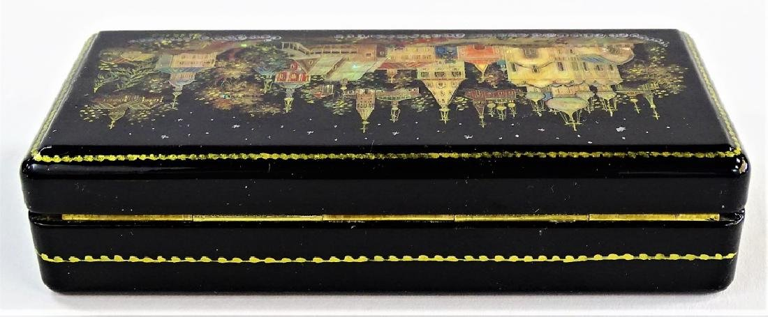 HAND PAINTED MOTHER OF PEARL RUSSIAN LACQUER BOX - 5