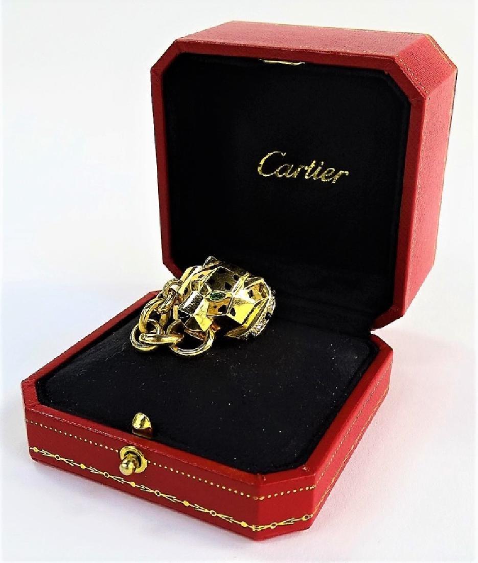 RARE CARTIER PANTHERE 18K GOLD DIAMOND & ONYX RING