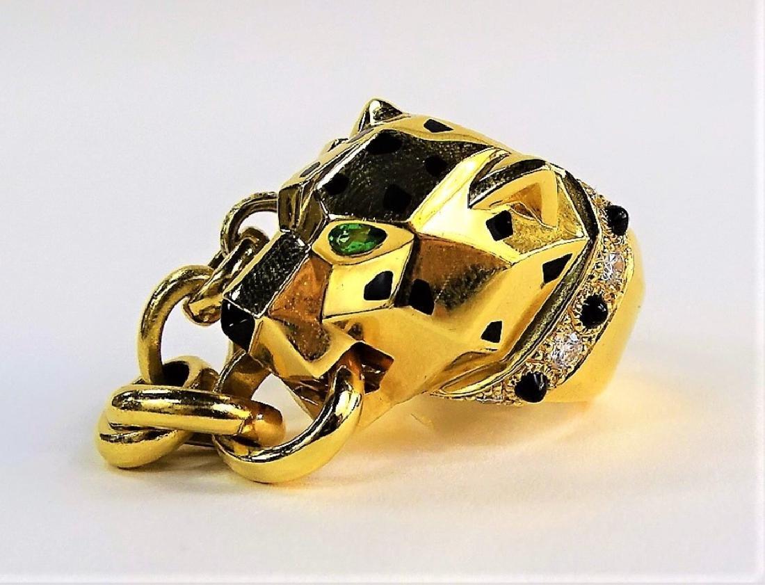 RARE CARTIER PANTHERE 18K GOLD DIAMOND & ONYX RING - 2