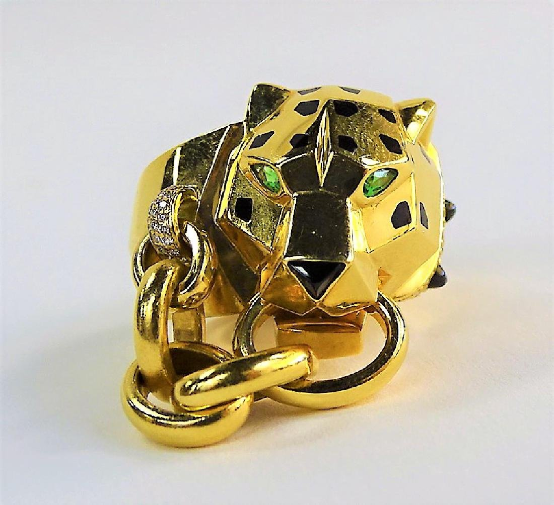 RARE CARTIER PANTHERE 18K GOLD DIAMOND & ONYX RING - 3