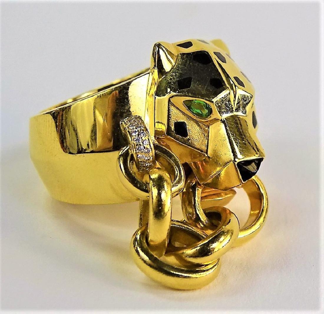 RARE CARTIER PANTHERE 18K GOLD DIAMOND & ONYX RING - 4