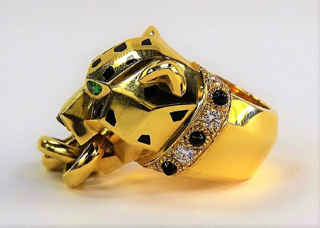 RARE CARTIER PANTHERE 18K GOLD DIAMOND & ONYX RING - 5