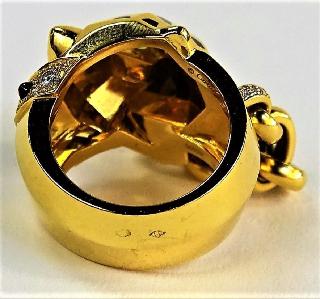 RARE CARTIER PANTHERE 18K GOLD DIAMOND & ONYX RING - 6