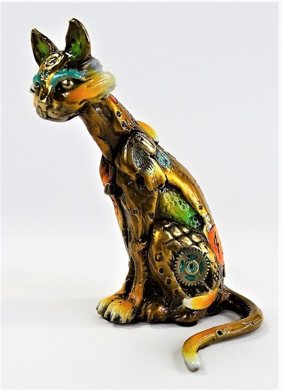 RARE NANO LOPEZ SMALL BRONZE CAT SCULPTURE
