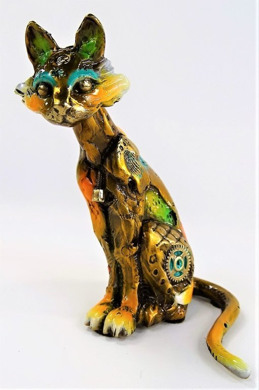 RARE NANO LOPEZ SMALL BRONZE CAT SCULPTURE - 8