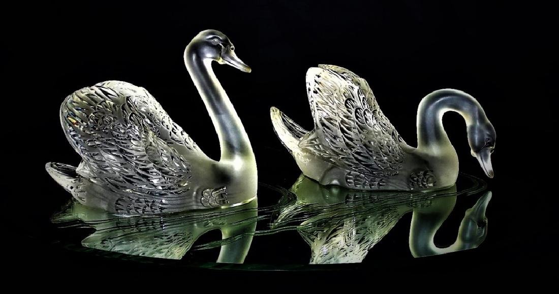 LALIQUE FRANCE CYGNES - SWANS CRYSTAL SCULPTURE - 3