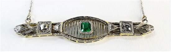DECO PLATINUM DIAMOND & EMERALD PENDANT NECKLACE