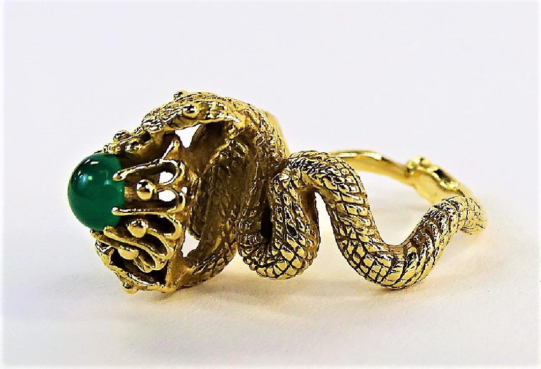 LADIES 14KT YELLOW GOLD & JADE DOUBLE SERPENT RING