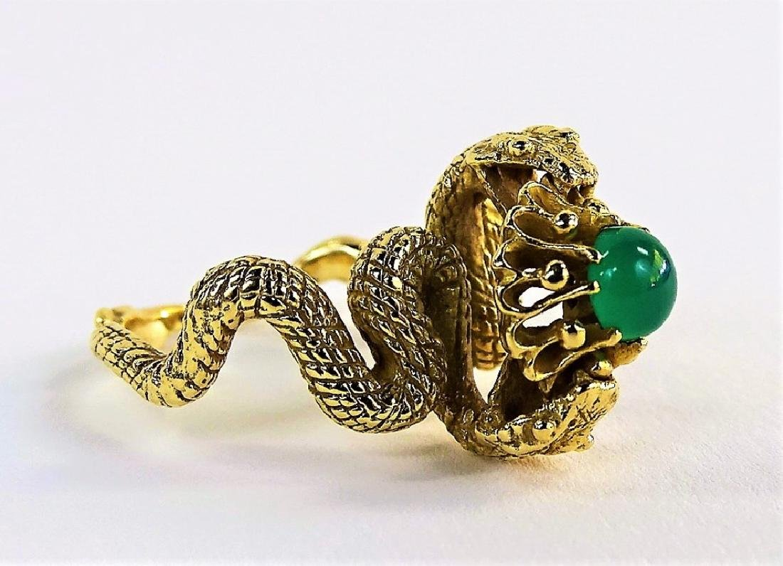 LADIES 14KT YELLOW GOLD & JADE DOUBLE SERPENT RING - 2