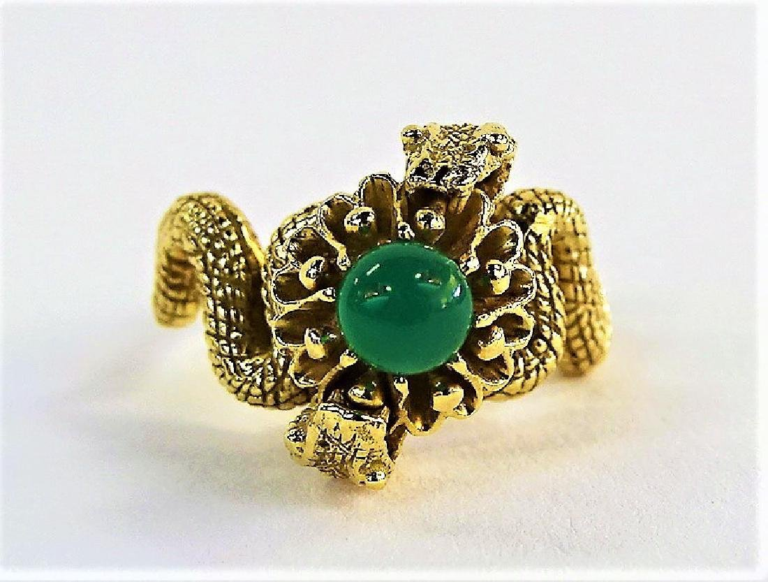 LADIES 14KT YELLOW GOLD & JADE DOUBLE SERPENT RING - 3