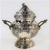 19TH C. CONTINENTAL REPOUSSE COVERED SUGAR BOWL
