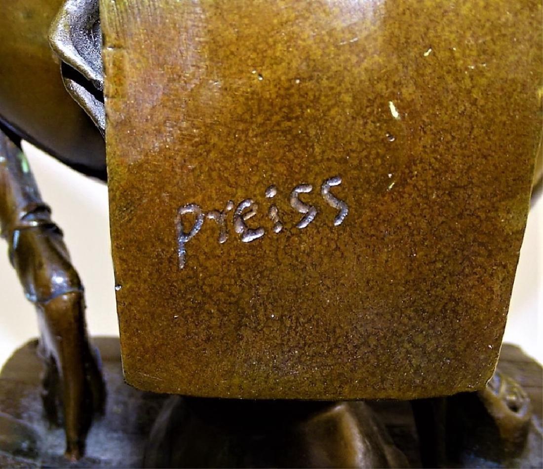 20TH CENTURY EROTIC BRONZE SCULPTURE SIGNED PREISS - 4