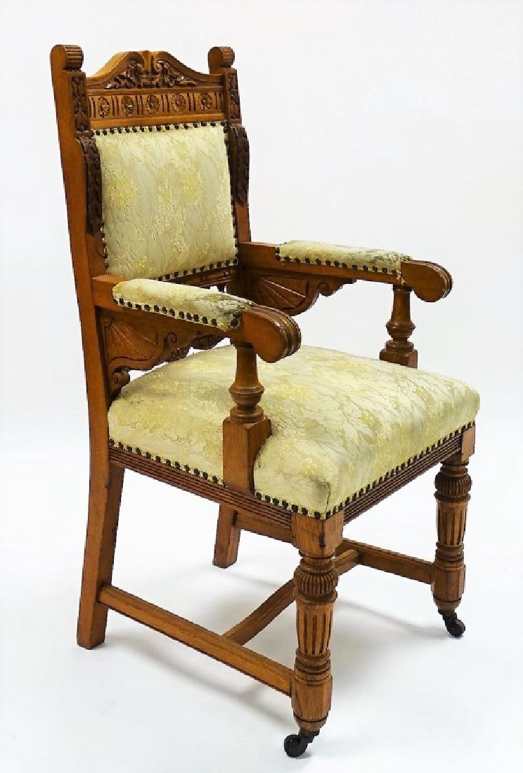 8 BIRD'S EYE MAPLE UPHOLSTERED DINING CHAIRS - 3