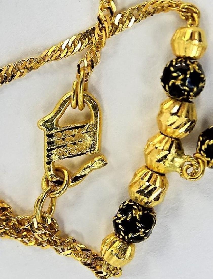 LADIES ELEGANT 22KT YELLOW GOLD & ONYX NECKLACE - 4