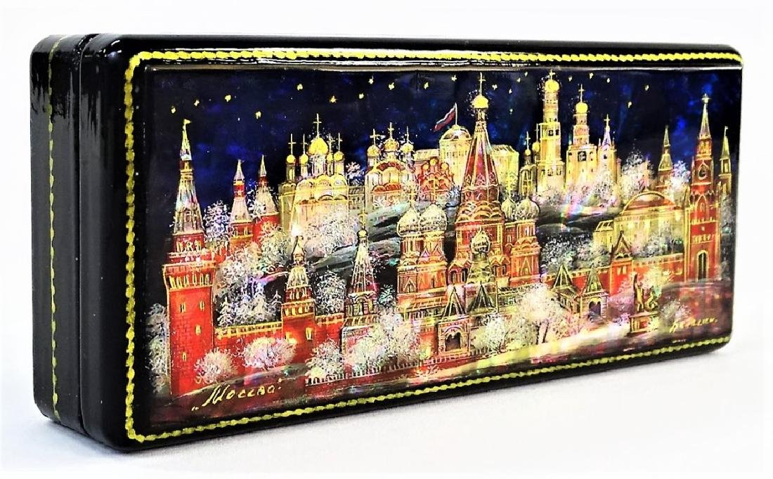 HAND PAINTED MOTHER OF PEARL RUSSIAN LACQUER BOX - 2