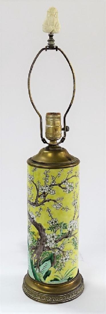 VINTAGE H/P CHINESE PORCELAIN CHERRY BLOSSOM LAMP