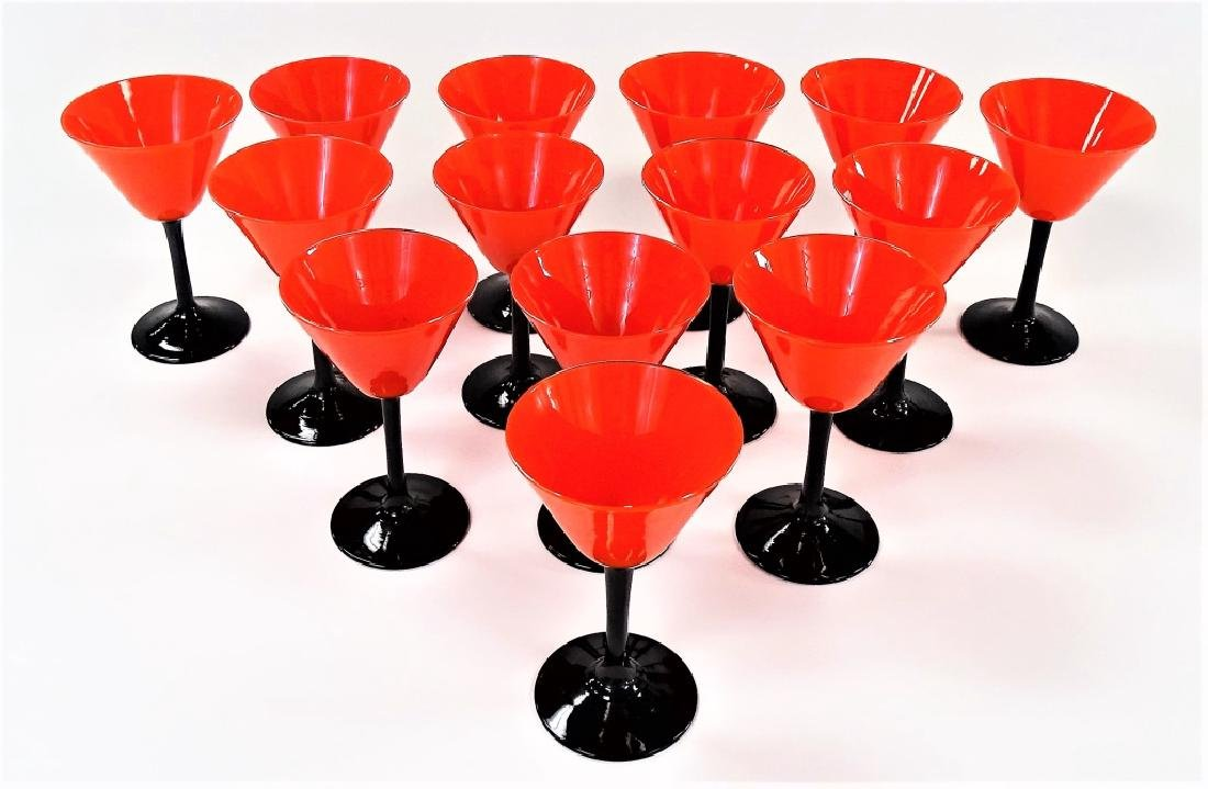 LOT OF 14 DECO PAIRPOINT RED & BLACK WINE GLASSES - 2