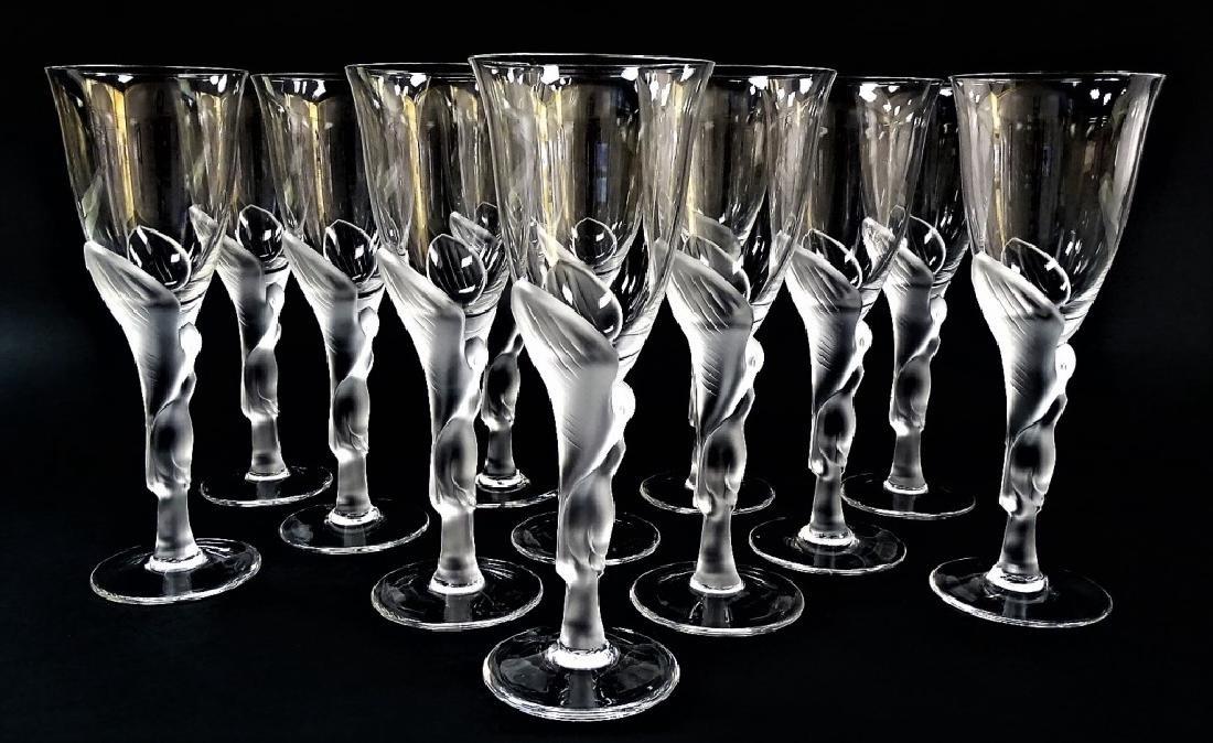 12 FABERGE KISSING DOVES WINE FLUTE GLASSES